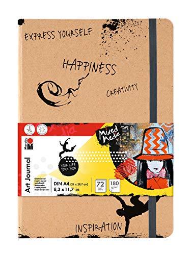 Marabu 1612000000101 - Notebook Art Journal, 180 g/qm, 72 Blatt, DIN A4, naturweiß, Papier fein gekörnt, matt, säurefrei, lichtbeständig, hochwertige Fadenbindung und Falttasche innen