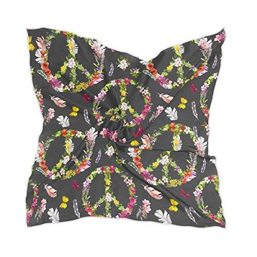 LZXO Damen Schal Peace Zeichen Blume Schmetterling Quadratischer Schal Kopfschmuck Kopftuch Kopftuch Leichtes Halstuch Stirnband mit 10 x Bobby Pins - 60 x 60 cm