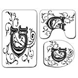 3Pcs Non-Slip Bathroom Rug Toilet Seat Lid Cover Set Letter G Soft Skidproof Bath Mat Middle Eastern Culture Inspired Uppercase Letter Royal Title Classic Design,Black Grey White Absorbent Doormat Bed