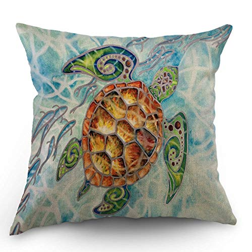 HL HLPPC The Animal Throw Pillow Case Watercolor Painting Sea Turtle Cotton Linen Cushion Cover 18 x 18 Inches Standard Square Decorative Pillow Cover for Sofa and Bed One Side Print