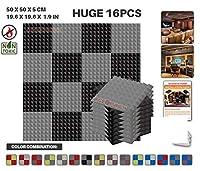 エースパンチ 新しい 16ピースセットグレーと黒 500 x 500 x 50 mm ピラミッド 東京防音 ポリウレタン 吸音材 アコースティックフォーム AP1034