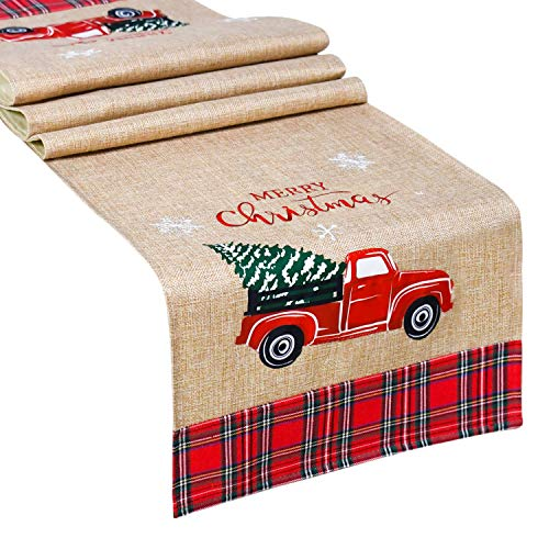 Senneny Burlap Christmas Table Runner with Plaid Edges, Embroidered Merry Christmas and Snowflake, Red Truck Tree, Rustic Table Runner for Christmas Holiday Party Table Home Decoration, 14 x 72 Inch