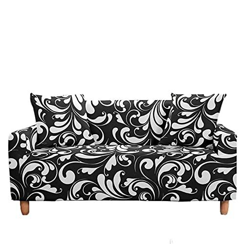 Meiju Fundas de Sofá Elasticas de 1 2 3 4 Plazas, Estilo Europeo Ajustables Cubierta de Sofá Cubre Sofa Antideslizante Funda Cubre Sofas Furniture Protector (Noble Negro,2 plazas - 145-185cm)