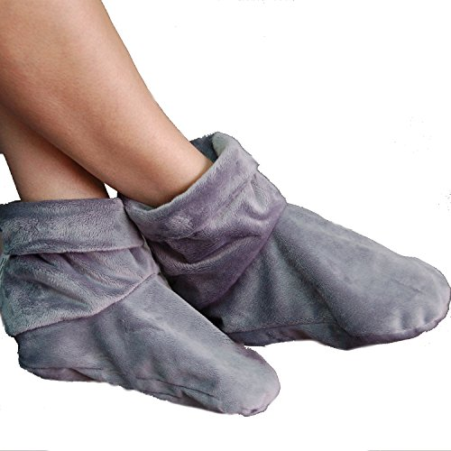 Mars Wellness Heated Microwaveable Foot Booties - Herbal Hot/Cold Deep Penetrating Herbal Aromatherapy Wrap Warmer (Charcoal)