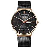 Reloj de pulsera Hombre LIGE Negro Analógico Cuarzo Caballeros Malla 3ATM Impermeable Acero Inoxidable Calendario Relojes Masculino Vestido Gents
