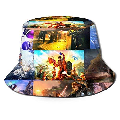 Sombrero de pescador para videojuegos, transpirable, impresión completa, plegable, fácil de llevar sin deformación, adecuado para cualquier estación, unisex, parte superior plana, color negro