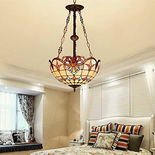 Tiffany-Art-Pendelleuchte, Weinlese Buntglas Hängelampe, Minimalist Mittelmeer Hängeleuchte Für Wohnzimmer Schlafzimmer Küche Island Cafe Licht Kronleuchter