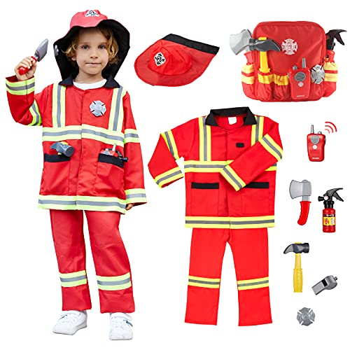 10 Pcs Kids Firefighter Costume, Toddler Fireman Dress up, Fire Pretend Chief Outfit, Halloween Role Play Career Suit W/ Walkie Talkie Hose, Party Birthday Gift for 3 4 5 6 7 Year Old Boy Girl