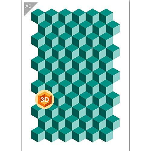 3d patrón de cubos plantilla–3capas–plástico–A342x 29,7cm–PINTURA, manualidades, pared, muebles plantilla–reutilizable Kids friendly