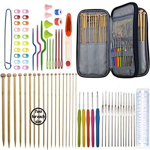 KOKNIT Bamboo Knitting Needles Set, 36pcs Carbonized Afghan Needles 5pieces Ergonomic Crochet Hooks 12 Small Size Aluminum Handle Hook with Sewing Tools Full DIY Craft Kits