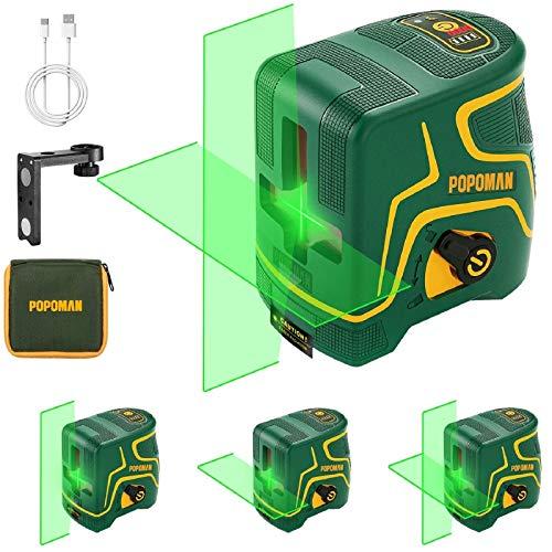 Livella laser Verde 45M, USB Ricarica, Linea Laser a Croce POPOMAN, Doppi Modalità, Autolivellante e Funzione Impulso, 120° Grandangolo, Borsa per Trasporto, 360° Supporto Magnetico, IP54 - MTM310B