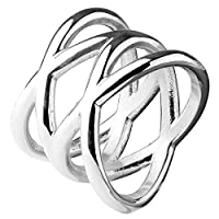 指輪 リング メンズ サージカルステンレス 316L ダブルエックスステンレスリング(NRH003) サイズ/17号 シルバー 透かし 幅あり 太い 太め 編み込み チェーン