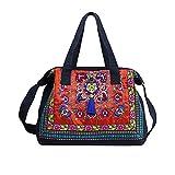 Cook, estilo étnico, bordado, bolso de hombro, bolso de compras, bolso de mano, bolso de mano, bolso de mano, multicolor y rojo