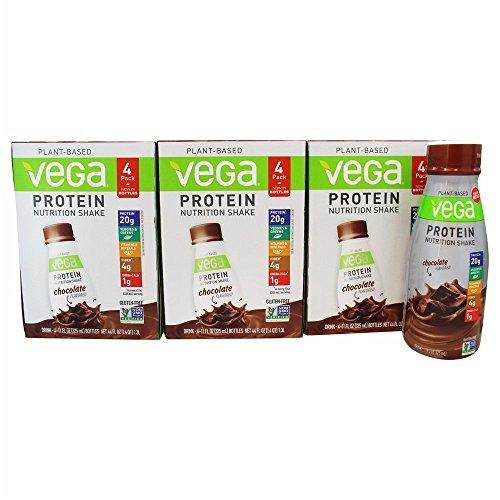 Vega Protein Nutrition Shake Chocolate - Ready to Drink, Plant Based Vegan Protein, Gluten Free, Dairy Free, Soy Free, Vegetarian, Vitamins, Non GMO, 11 Fl Oz (12 Count)