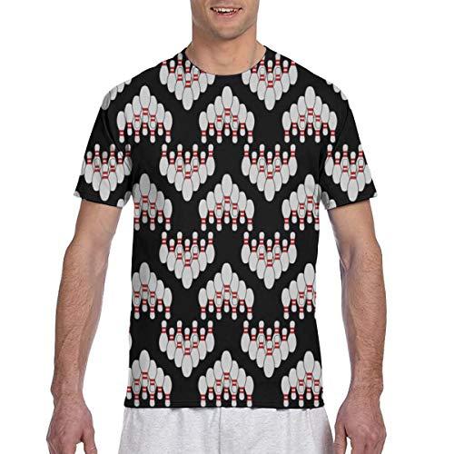 Zhgrong Männer T-Shirts Bowlingkugeln Stifte 11 Kurzarm T-Shirts Rundhals Athletic Tees Tops