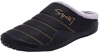 NUWFOR Fashion Leisure Men Indoor Keep Warm Shoe Flat Platform Household Cotton Slipper?Black,10.5-11 M US?
