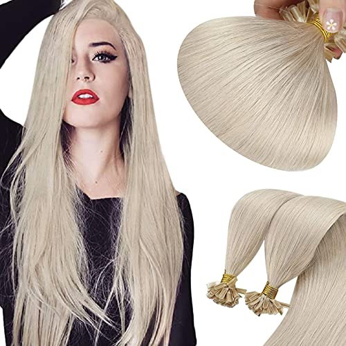 Sunny 18Inch Ice Blonde Hair Extensions U Tip Hair Extensions Human Hair Blonde U Tip Keratin Human Hair Extensions Real Remy Straight Hair with Hot Fusion Hair Extensions #60 50G 50 Strands