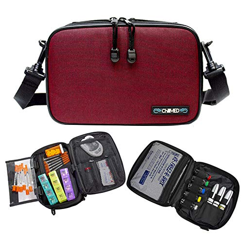ChillMED Elite Diabetic Bag - Organizer Supply Kit | Insulin and Medication Travel Cooler Bag with Reusable Ice Pack - Up to 14 Hours of Cooling Time - Red