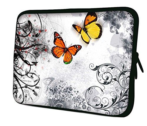 Luxburg 12 inch (30,5 cm) laptop- en tablet-hoes - Motief: vlinders op witte achtergrond