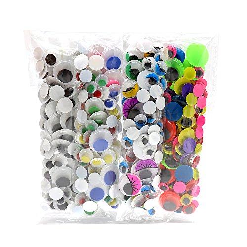 4bagsx125pcs/bag 10/12/15/20mm Without Self-adhesive Wiggle Eyes Bonus Pack