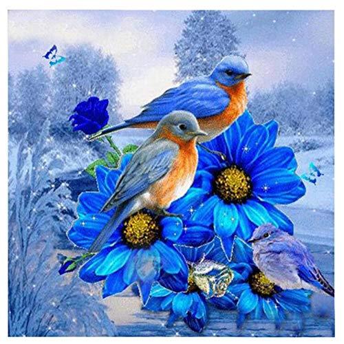 Penbiubiu 5D Diamant Schilderij DIY 5D Diamant Painting, diamanten schilderij,borduurwerk, dierenblauwe bloemen en vogels, kruissteek, canvas, wanddecoratie