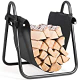 Goplus Firewood Log Holder with Canvas Tote Carrier, Heavy-Duty Firewood Storage Holders Log Bin, Indoor Outdoor Fire Logs Stacker Basket with Kindling Wood Stove Accessories Handle
