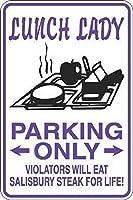 個人的な場所の標識ランチレディーパーキングのみソールズベリーステーキ-警告標識金属のプラークのポスター鉄の絵アートの装飾バーカフェ&キュートホテルオフィスベッドルームガーデン