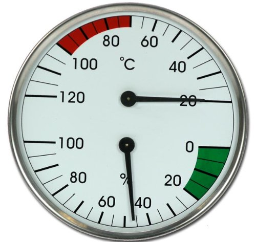 MAXI 160mm Sauna Kombigerät Thermometer Hygrometer Modell ELECSA 9020