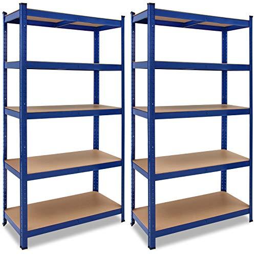 Deuba 2x Estanterías metálicas para cargas pesadas Azul 180x90x40cm 875kg Repisa de almacenaje con 5 estantes