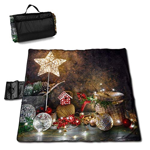 Suo Long Décoration de Vacances de Noël avec Couverture de Pique-Nique étoile Brillante avec Tapis de Pique-Nique à Main pour Camping pelouse de Parc de Plage