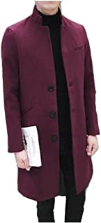 neveraway Mens Overcoat Woolen Fall Winter Stand Collar Mid Long Duffle Coat