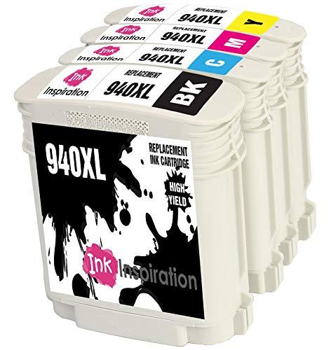 INK INSPIRATION Reemplazo para HP 940 940XL Multipack 4 Cartuchos de Tinta Compatible con HP OfficeJet Pro 8000 8500 8500A A809a A809n A909a A909g A910a A910g, Negro/Cian/Magenta/Amarillo