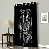 Advancey Wildlife Animal Thermal Insulated Blackout Curtains - 1 Panel, 3D Printing Tiger Head in Dark Background Room Darkening Window Drapes for Bedroom 52x24inch