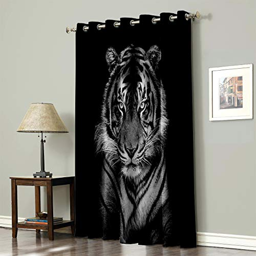 Advancey Wildlife Animal Thermal Insulated Blackout Curtains - 1 Panel, 3D Printing Tiger Head in Dark Background Room Darkening Window Drapes for Bedroom 52x72inch