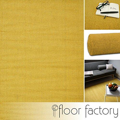 floor factory Moderner Designer Wollteppich Loft Mustard senfgelb 200x290cm - Reine Wolle in...