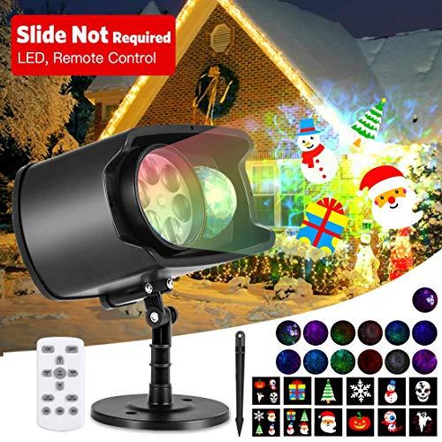 AGPTEK HD Led-projectorlamp voor feest, 12 standen Waterdichte buitenverlichting Watergolfeffect met afstandsbediening 4/6/8 timer, voor verjaardag, Kerstmis, Halloween, binnen en buiten