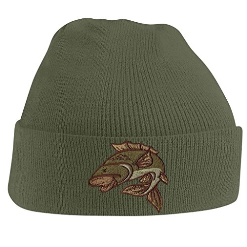 Bang Tidy Clothing Carp Fishing Angling Hobbie Winter Fathers day Embroidered Beanie Hat Logo Men's - Olive
