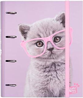 Erik - Classeur A4 4 Anneaux - Studio Pets Cats | Classeur Rigide | Fournitures Scolaires, Fournitures de Bureau
