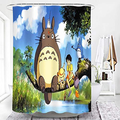MALECUPWH Bade Vorhang 120X200 cm Cartoon Totoro Duschvorhang 120 Lang Polyester Stoff Mit Duschvorhang Haken Antischimmel Wasserdicht