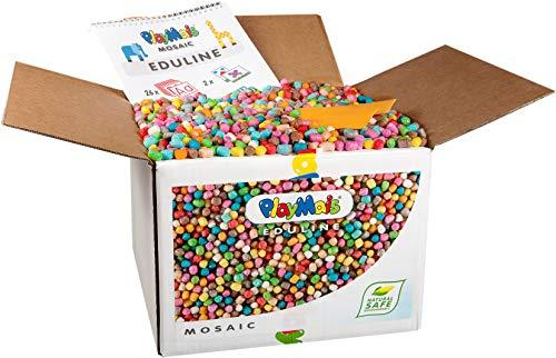 PlayMais EDULINE Mosaic Bastel-Set für Kinder ab 3 Jahren | Motorik-Spielzeug mit 12.000 50 Seiten Vorlagen zum Basteln & Lernen | Fördert Kreativität & Feinmotorik | Natürliches Spielzeug
