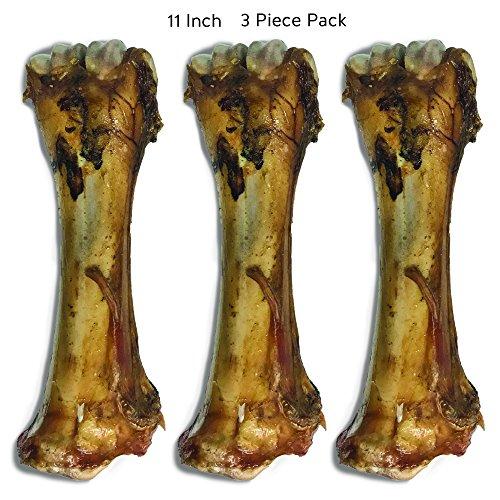 "Jack & Pup Premium Grade Roasted Meaty Beef Shin Bone Dog Treats (3 Pack) – 11"" Long Lasting All Natural Gourmet & Healthy Dog Bone Treat Chews – Savory Smoked Beef Flavor"