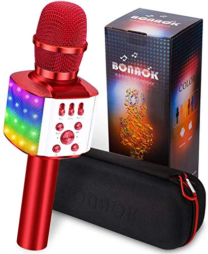 Bluetooth Karaoke Mikrofon Kinder BONAOK, 4-in-1 Kinder Karaoke mit Mikrofon, Tragbares Mikrofon mit Lautsprecher Led, Zuhause Party Karaoke Dynamische Bluetooth Mikrofone für Android/iOS (Rot)