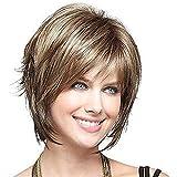 Yuyanshop Peluca corta rubia pelo rizado pelucas para las mujeres Full Fluffy sintético Natural Look Pelucas (rubio)