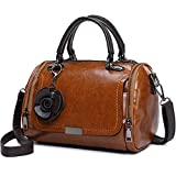 Small Top-Handle Purses and Handbags for Women - Vegan Leather Crossbody Bags (Mini Barrel)