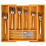 Giggi Cutlery Tray Organiser, Kitchen Utensil Holder, Cutlery Tray/Cutlery Holder/Kitchen Organiser Tray, Cutlery Draw Organizer Extendable Wooden Knife and Utensils Holder Wooden Tray Rack