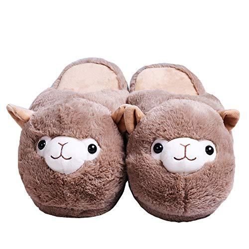 unlockgift Damen-Hausschuhe mit Tiermotiv, gefüllte Alpaka-Hausschuhe, warme Hausschuhe, Innenschuhe, Größe 36-39, Braun - braun - Größe: 39