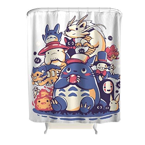 Handgezeichnetes Anime-buntes Textil mit ABS-Haken – Anime-Muster, strapazierfähiger, wasserdichter Stoff, Duschvorhang für Badewannen, weiß, 180 x 200 cm