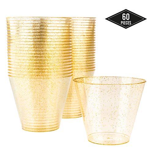 Wegwerpbeker, glitter, gouddesign, 60 stuks, 9 ml, ideaal voor sappen, cocktails, soda, wijn en bier