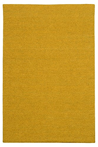 Morgenland Kelim Teppich FANCY Gold Einfarbig Uni Wollteppich Kurzflor Handgewebt 240 x 170 cm