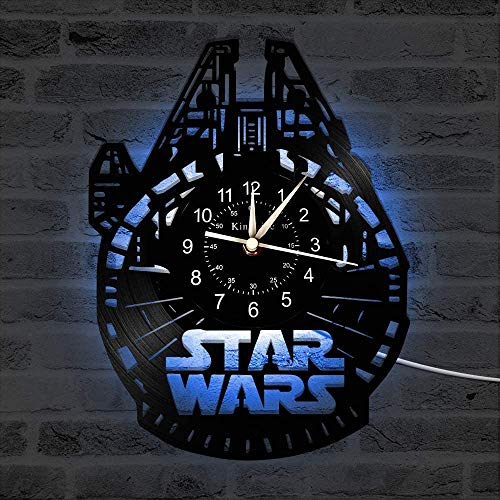 Vinyl Record Wall Clock Vinyl Record wall clock, Decor Star War 7 Color Wall Clock, Living Room Bedroom Handmade Home Wall Decor Gifts for Children,C,With light, ( Color : C , Size : With light )